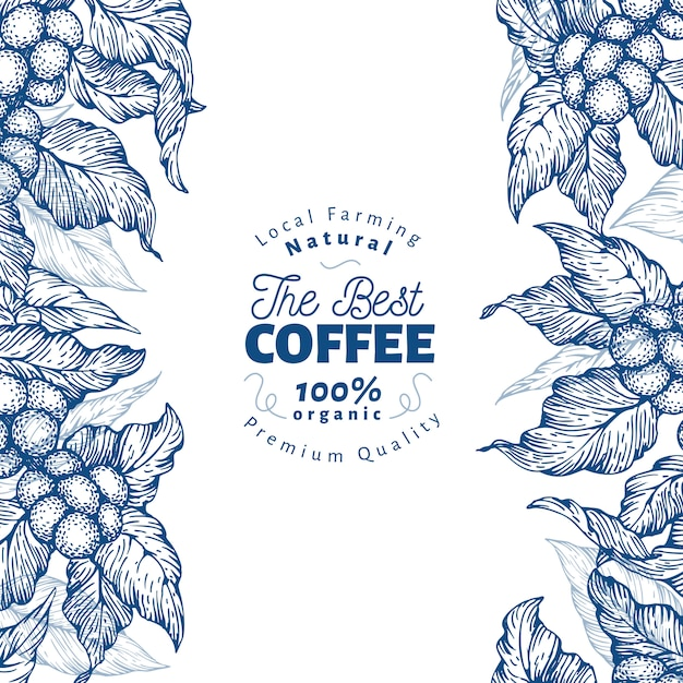 Modelo de banner de árvore de café. ilustração vetorial fundo de café retrô. Vetor Premium