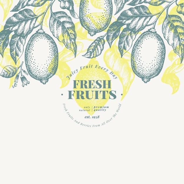 Modelo de banner de árvore de limão. ilustração tirada mão da fruta do vetor. estilo gravado. fundo de citrino retrô. Vetor Premium
