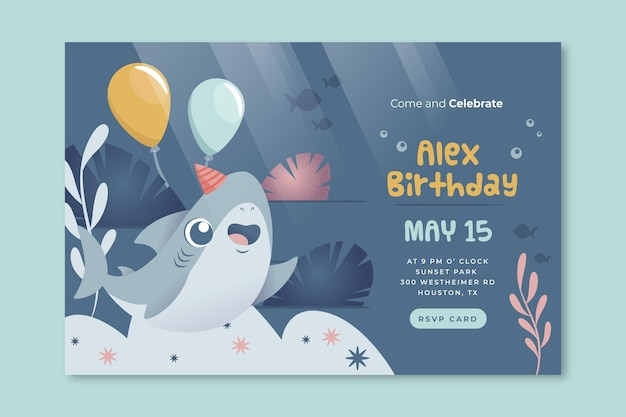 Modelo de banner de balões e tubarões de aniversário infantil Vetor grátis