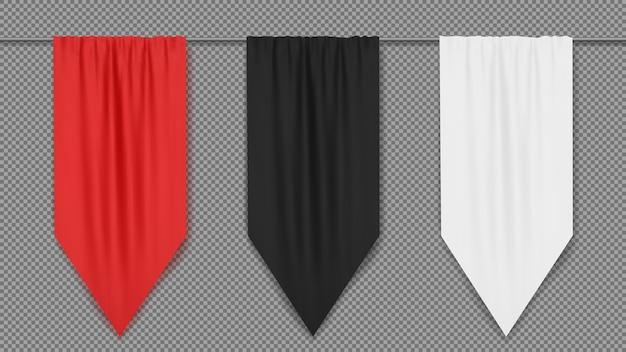 Modelo de banner de bandeira vertical em branco vermelho, preto e branco. Vetor Premium