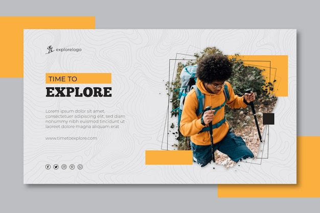 Modelo de banner de caminhada Vetor Premium