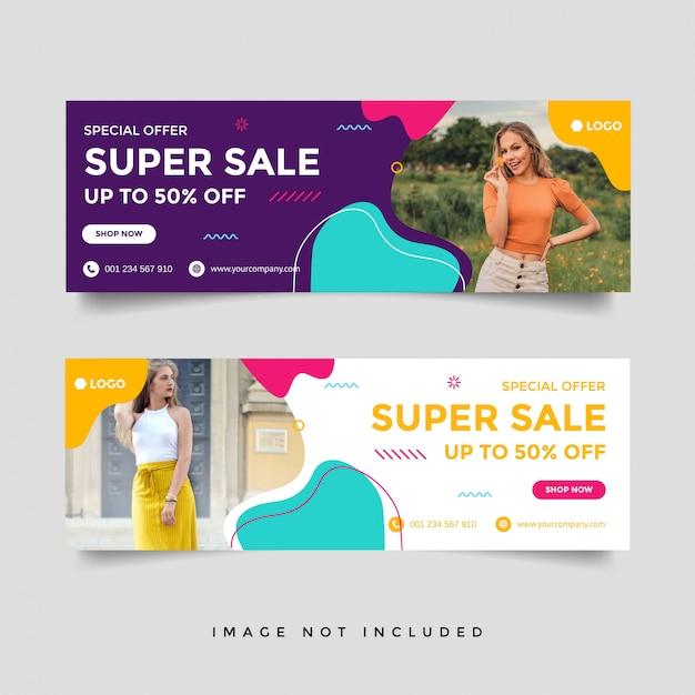 Modelo de banner de capa de facebook de venda de moda Vetor Premium
