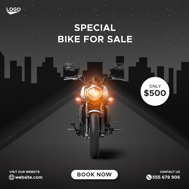 Modelo de banner de capa do facebook para promoção de venda de bicicletas Vetor Premium