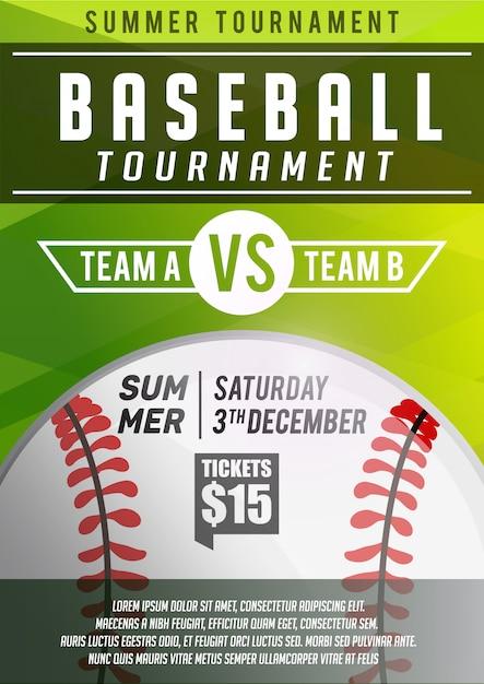 Modelo de banner de cartaz de beisebol Vetor Premium