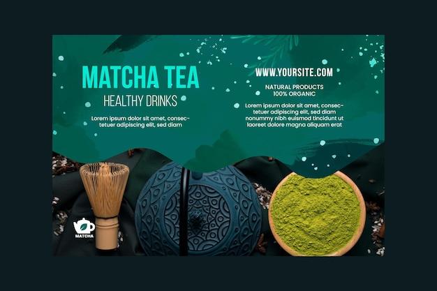 Modelo de banner de chá matcha com foto Vetor grátis