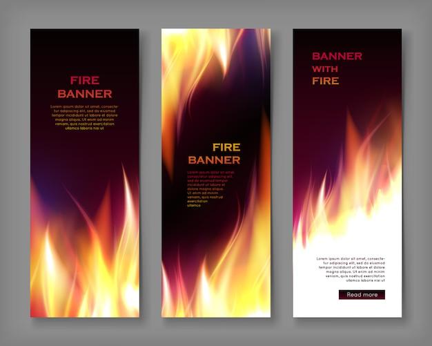 Modelo de banner de chamas de fogo, tamanho vertical Vetor Premium