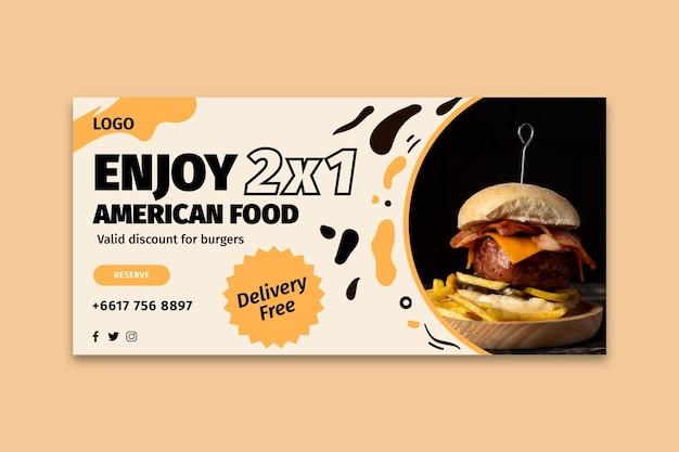 Modelo de banner de comida americana Vetor Premium