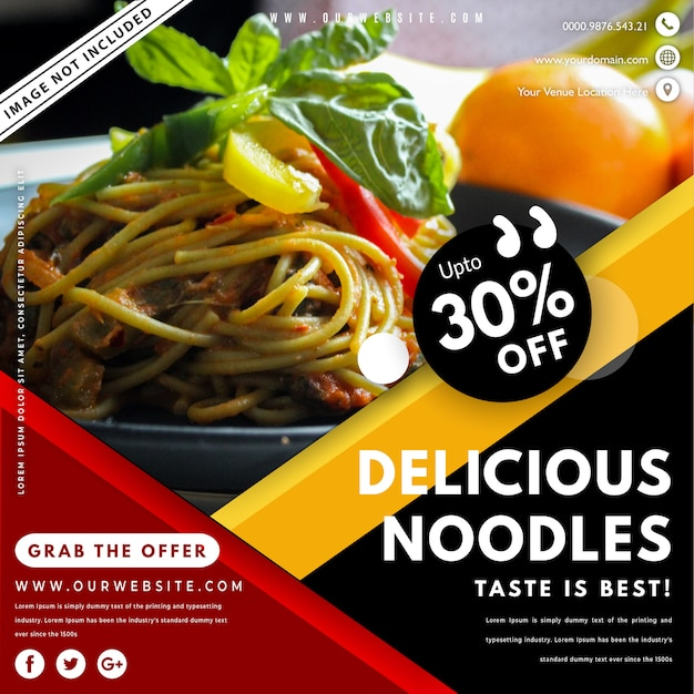 Modelo de banner de comida com foto Vetor Premium
