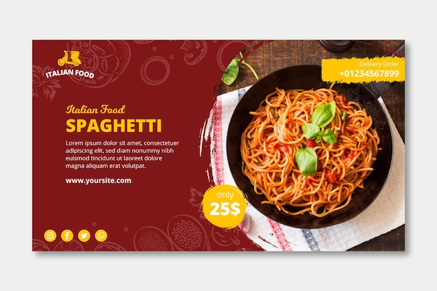 Modelo de banner de comida italiana Vetor Premium