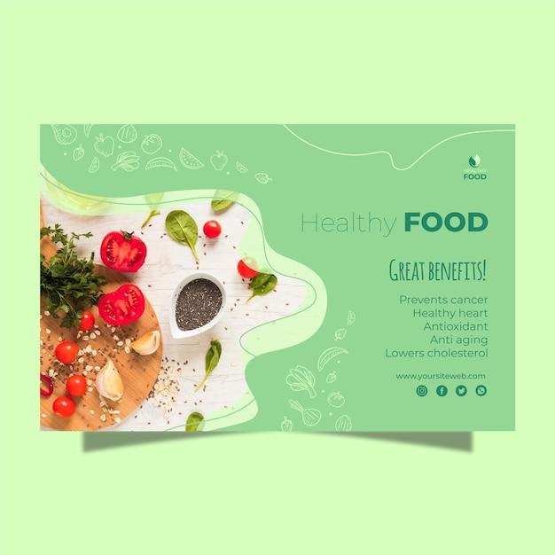 Modelo de banner de comida saudável Vetor Premium