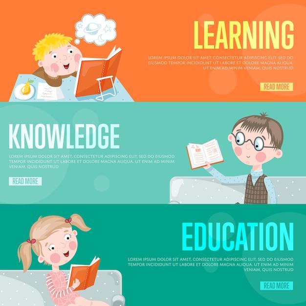 Modelo de banner de conceito de infografia de educação Vetor Premium
