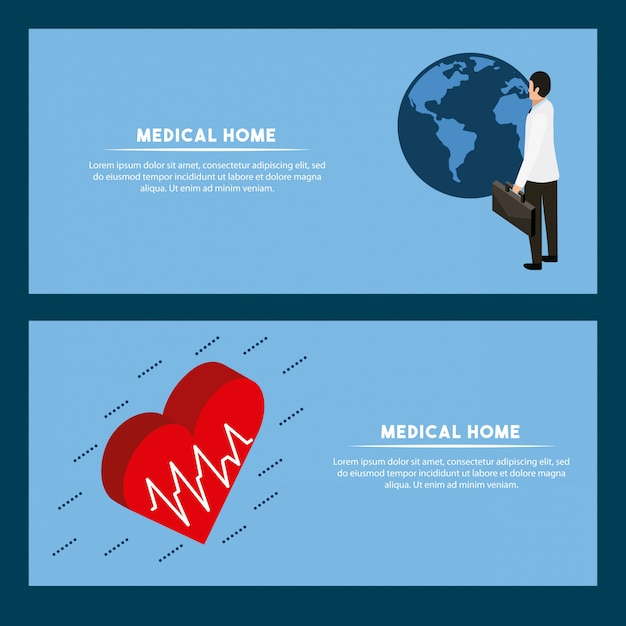 Modelo de banner de conceito de saúde digital Vetor grátis