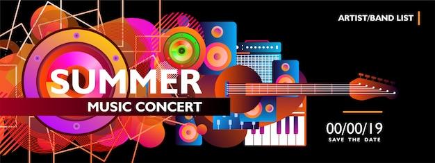 Modelo de banner de concerto de música de verão com forma colorida em fundo preto Vetor Premium