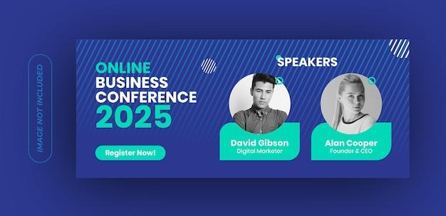 Modelo de banner de conferência de negócios online Vetor Premium