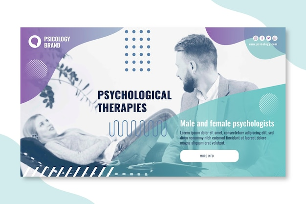 Modelo de banner de consultoria em psicologia Vetor grátis