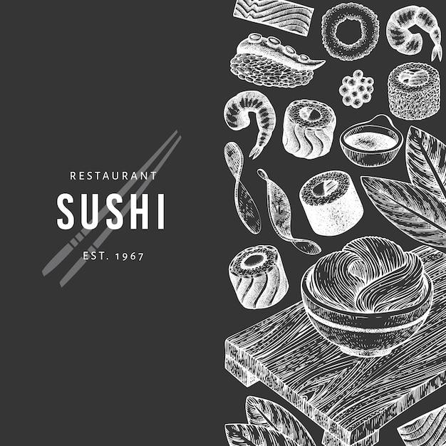 Modelo de banner de cozinha japonesa desenhada de mão. Vetor Premium