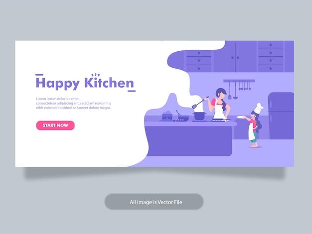 Modelo de banner de culinária e padaria com ilustração do conceito de mãe e filho Vetor Premium