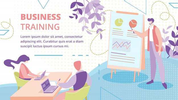 Modelo de banner de curso de treinamento para empresários Vetor Premium