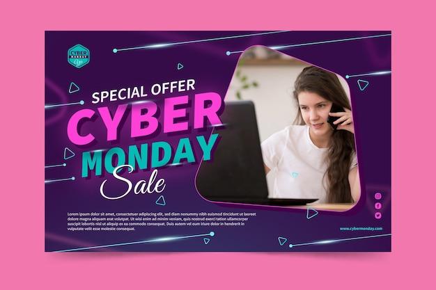 Modelo de banner de cyber monday com foto Vetor Premium