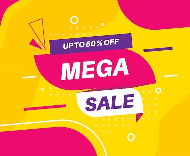 Modelo de banner de desconto de mega venda de design plano Vetor Premium