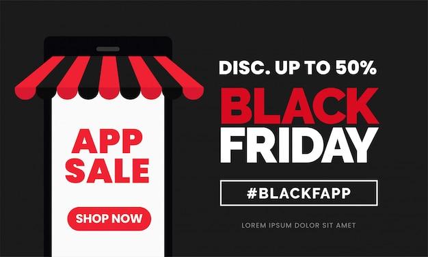 Modelo de banner de desconto de venda de aplicativo sexta-feira negra Vetor Premium