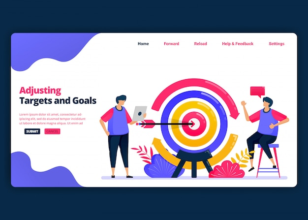Modelo de banner de desenho animado para ajustar metas e objetivos ao mercado e aos clientes. página de destino e modelos de design criativo de sites para negócios. pode ser usado para web, aplicativos móveis, pôsteres Vetor Premium