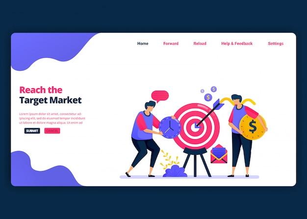 Modelo de banner de desenho animado para alcançar o mercado-alvo, lucro e vendas ao cliente. página de destino e modelos de design criativo de sites para negócios. pode ser usado para web, aplicativos móveis, cartazes, panfleto Vetor Premium