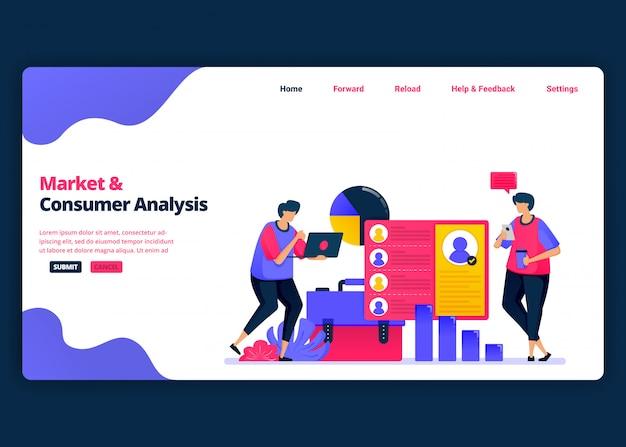 Modelo de banner de desenho animado para análise de mercado e cliente com estatísticas. página de destino e modelos de design criativo de sites para negócios. Vetor Premium