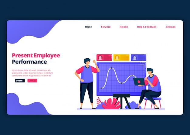 Modelo de banner de desenho animado para apresentação do desempenho dos funcionários para promoções. página de destino e modelos de design criativo de sites para negócios. pode ser usado para web, aplicativos móveis, pôsteres Vetor Premium