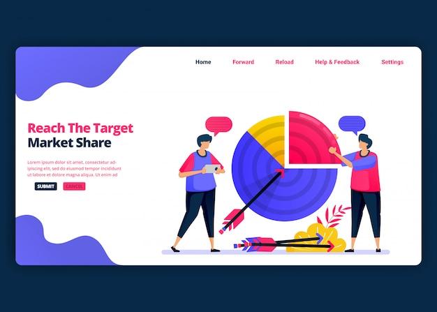 Modelo de banner de desenho animado para atingir a meta de participação de mercado e lucros de vendas. página de destino e modelos de design criativo de sites para negócios. Vetor Premium