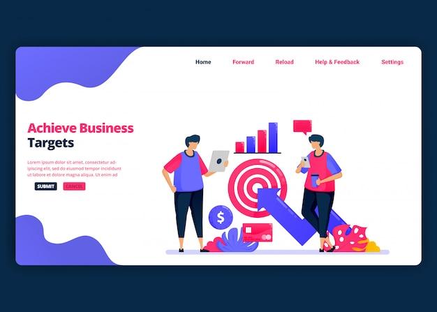 Modelo de banner de desenho animado para atingir metas de negócios com análise financeira. página de destino e modelos de design criativo de sites para negócios. Vetor Premium