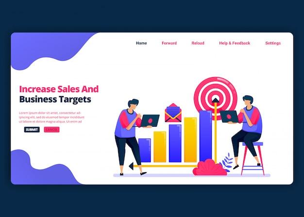 Modelo de banner de desenho animado para aumentar as metas de vendas e lucro nos negócios. página de destino e modelos de design criativo de sites para negócios. Vetor Premium