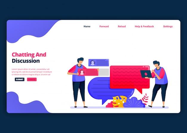 Modelo de banner de desenho animado para bate-papo e discussão com amigos e colegas. página de destino e modelos de design criativo de sites para negócios. Vetor Premium