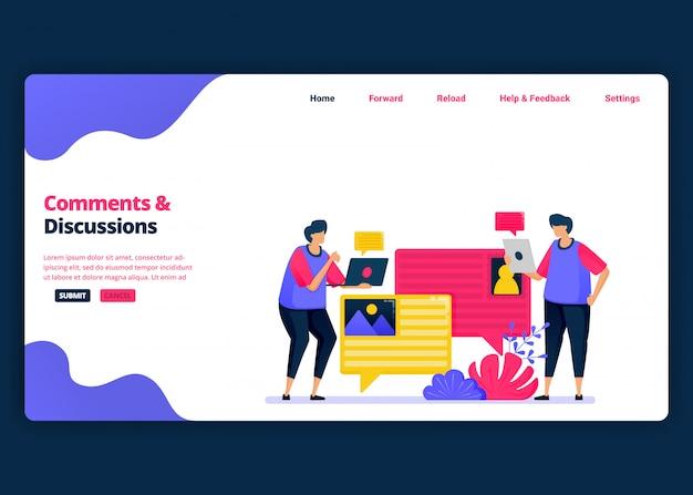 Modelo de banner de desenho animado para discutir e comentar com colegas sobre o trabalho. página de destino e modelos de design criativo de sites para negócios. Vetor Premium