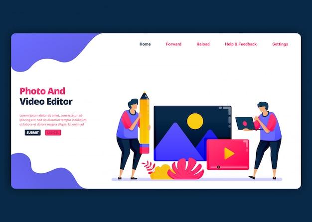 Modelo de banner de desenho animado para edição de vídeo e foto com software profissional. página de destino e modelos de design criativo de sites para negócios. Vetor Premium