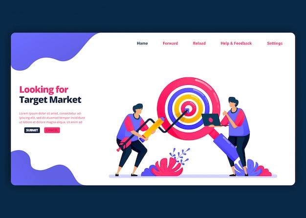 Modelo de banner de desenho animado para procurar mercados-alvo e quotas de clientes. página de destino e modelos de design criativo de sites para negócios. Vetor Premium