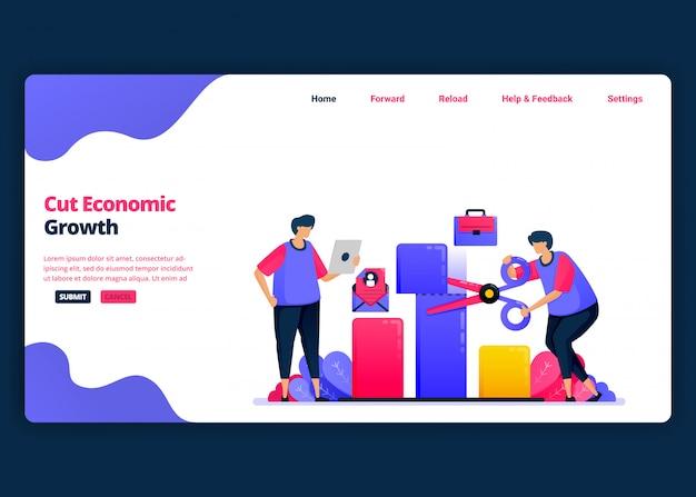Modelo de banner de desenho animado para reduzir o crescimento econômico e o pib durante a crise. página de destino e modelos de design criativo de sites para negócios. Vetor Premium