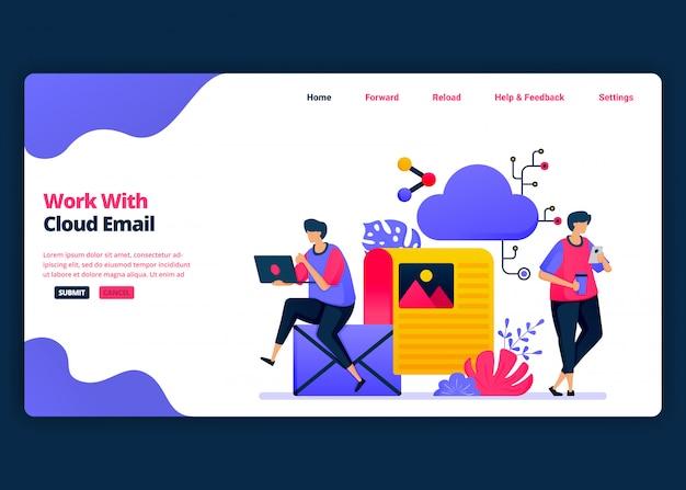 Modelo de banner de desenho animado para trabalhos com e-mail em nuvem e gerenciamento de computação. página de destino e modelos de design criativo de sites para negócios. Vetor Premium