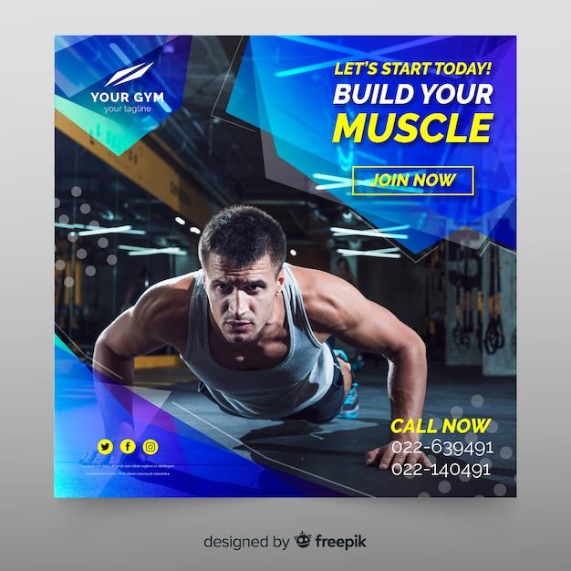 Modelo de banner de esporte com foto Vetor grátis