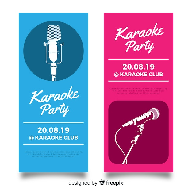 Modelo de banner de festa de karaoke plana Vetor grátis