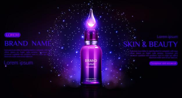 Modelo de banner de garrafa de cosméticos. tubo cosmético com gota de queda brilhante, reparação de design de embalagem de produto de cuidados da pele de beleza noturna Vetor grátis