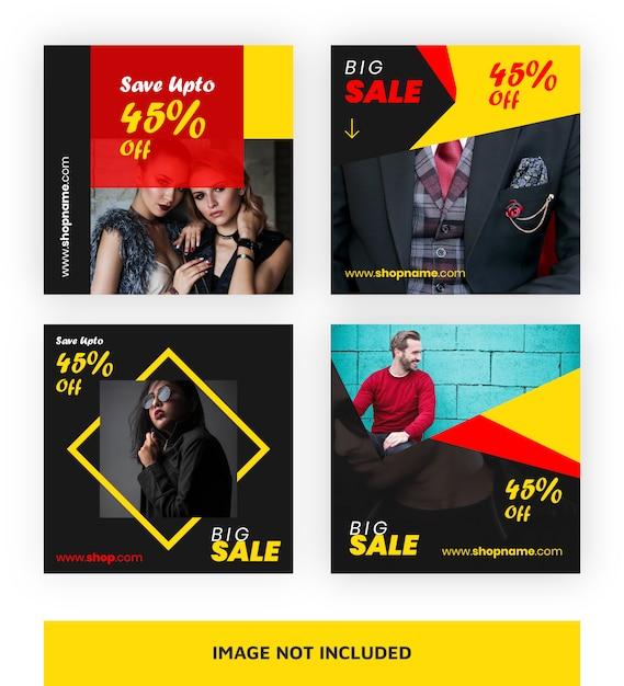 Modelo de banner de grande venda para mídias sociais Vetor Premium