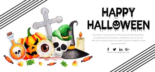 Modelo de banner de halloween em aquarela Vetor Premium