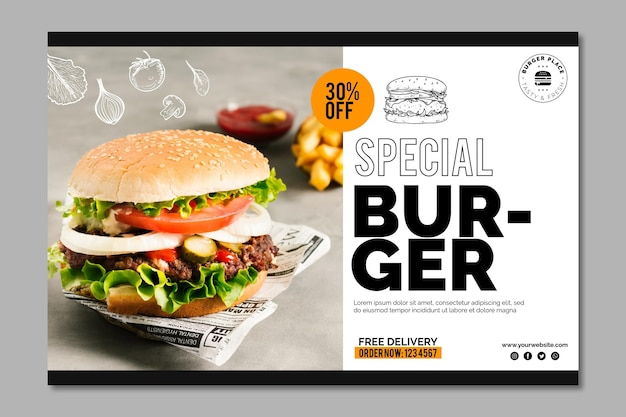 Modelo de banner de hambúrguer Vetor Premium