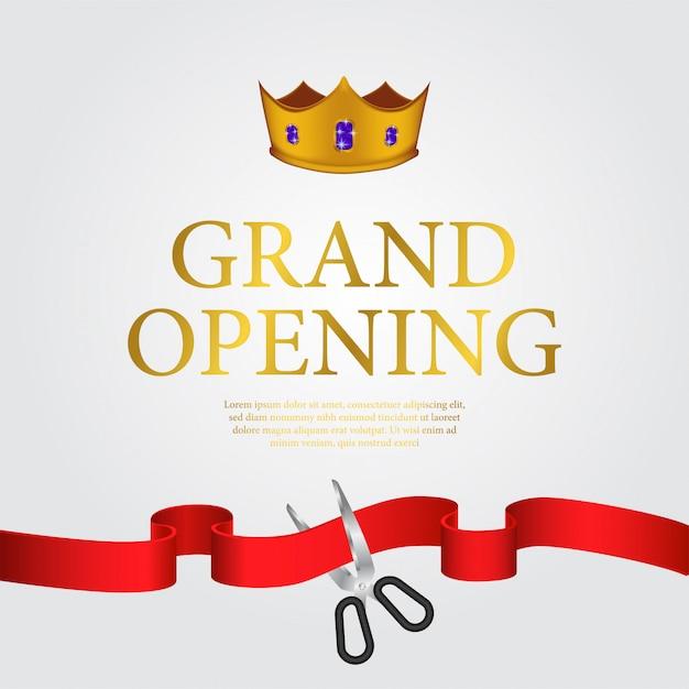 Modelo de banner de inauguração de luxo Vetor Premium
