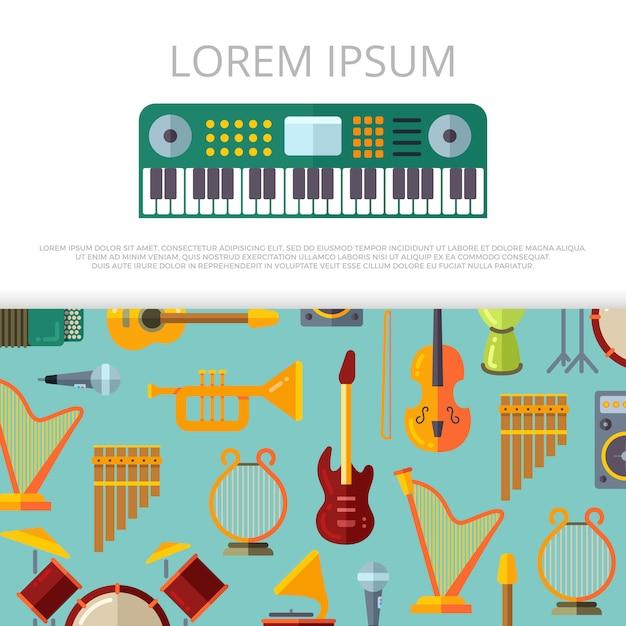 Modelo de banner de instrumentos musicais planas Vetor Premium
