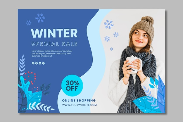 Modelo de banner de inverno Vetor Premium
