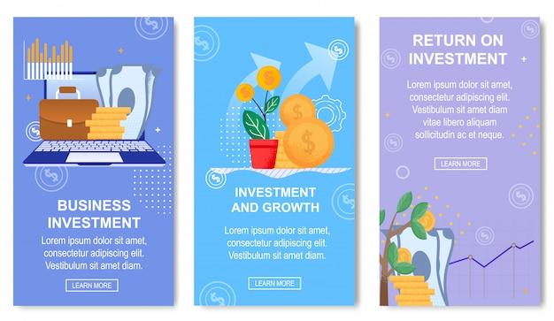 Modelo de banner de investimento e crescimento de negócios para mídias sociais. Vetor Premium