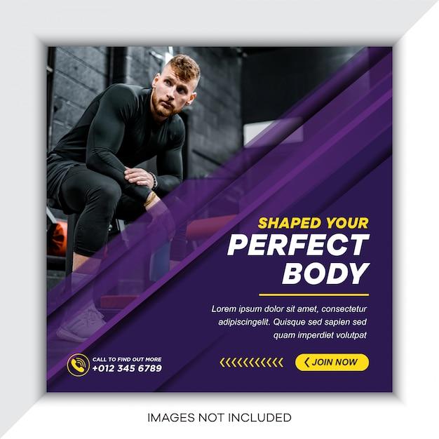 Modelo de banner de mídia social de esporte moderno Vetor Premium