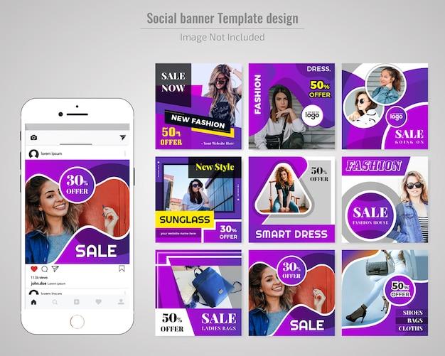 Modelo de banner de mídia social de moda Vetor Premium
